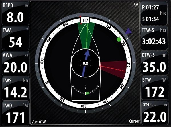 SailSteer provides all essential data on one screen - Video example