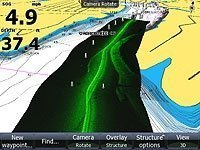 Lowrance's exclusive StructureMap overlays Structure Scan data  onto your traditional charts! (Requires ESA790 option)