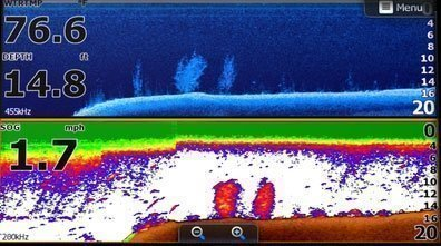 Horizontal Full screen showing Down Imaging (requires ESA790 Transducer option) on the top and Sonar view on the bottom (requires transducer option)