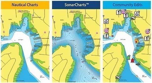 Charts have the option for high res bathymetric SonarCharts data as well as Community Edits Data.